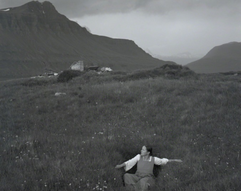 Self-portrait in grass, Iceland