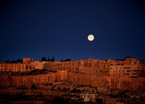 Moonset over Old City, Jerusalem