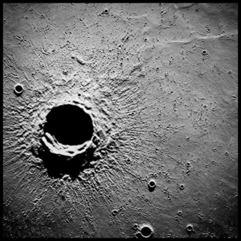 20-Mile-Wide Crater Timocharis, 62 Miles Altitude; Photographed by Alfred Worden, Apollo 15, July 26-August 7, 1971